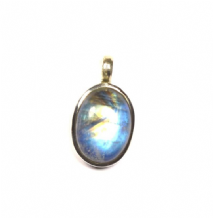 Rainbow Moonstone Pendant Silver Oval Colourfull 'One-Off'